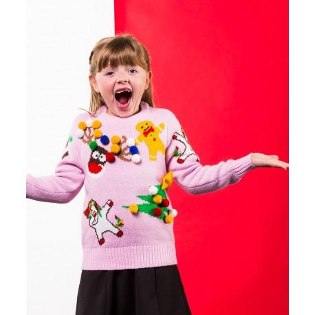 Pull de Noël pour enfant avec décoration
