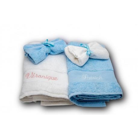 Panier serviettes duo brodées