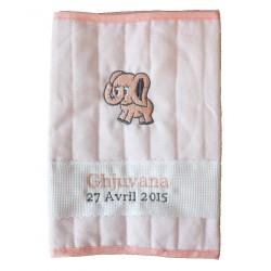Protège carnet de santé lin - coton  brodé